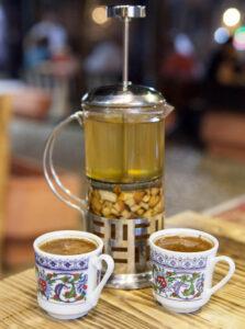 Fresh pressed apple tea and Turkish Coffee