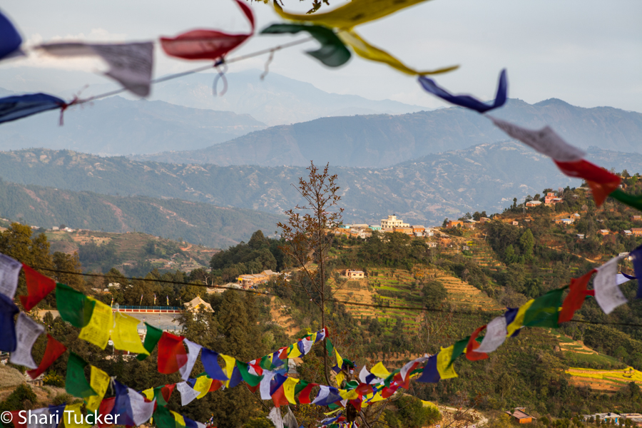 Nepal prayer flags and mountain view
