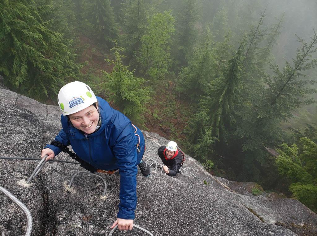 Two people rock climbing in British Columbia