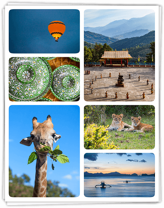 Collage of various travel photos. Featuring a giraffe, boats on water, lion cups, monks at a temple, a hot air balloon at night and green bowls.