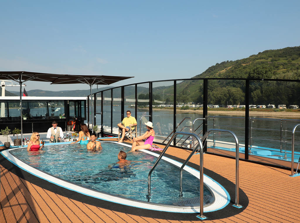 Pool on top deck of river cruise ship