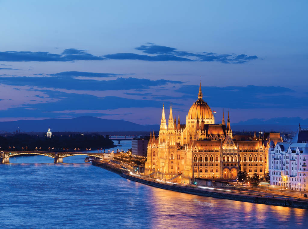 Castle Hill in Budapest at Night overlooking Danube River