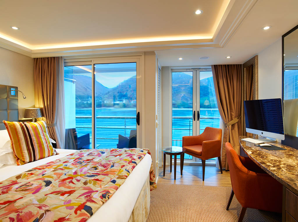 Interior shot of room on river cruise ship