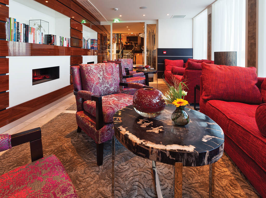 Interior shot of common room on river cruise ship