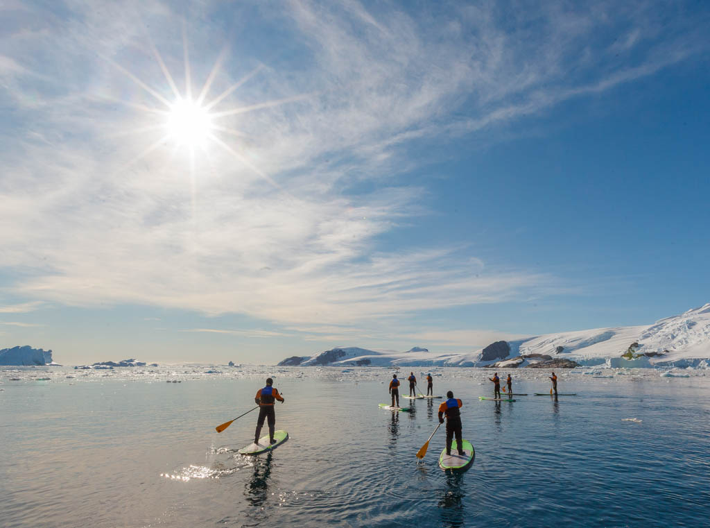 Group of travellers paddle boarding in Antarctica