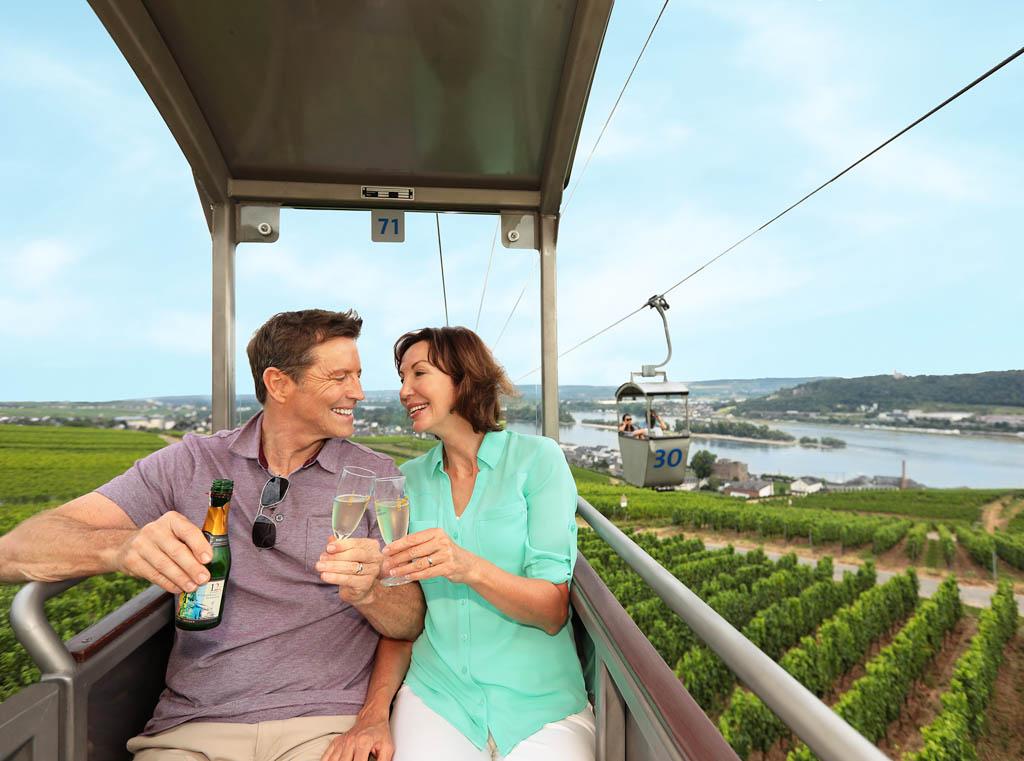 Couple in gondola at vineyard near the Rhine