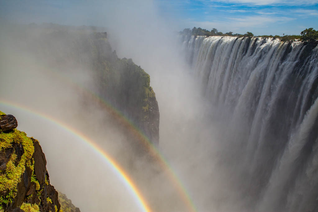 Victoria Falls featuring double rainbow