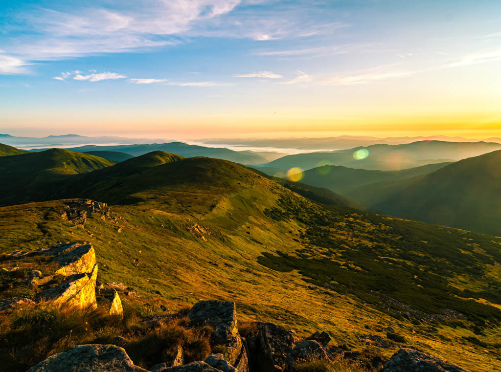 sunset on the Carpathian Mountains, Ukraine