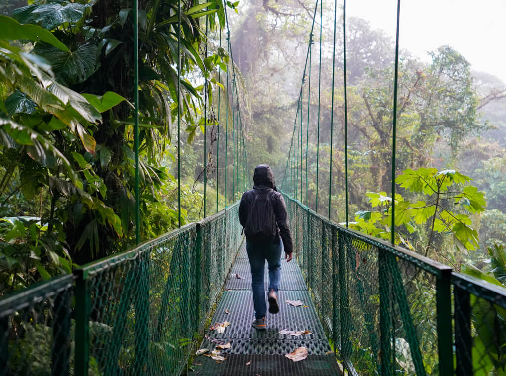 person walking across a hanging bridge in Costa Rica into the mist, surrounded by lush green forest